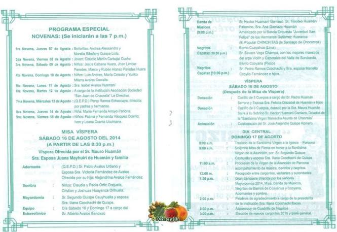 FIESTA PATRONAL EN HONOR SANTÍSIMA VIRGEN DE LA ASUNCION - ORG. ASOCIACION SOCIEDAD SAN JUAN DE CHACRALLA RESIDENTES EN ICA 2014 03